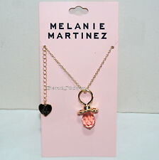Melanie Martinez Pink Gem Baby Pacifier Cry Baby Necklace with Heart Charm NEW
