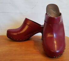 DANSKO Rae Red Open Back Clog Mule Heel Full Grain Leather size 41 US 9.5 - 10