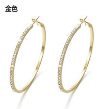 Large Hoop Earrings Gold Silver Tone Big Pair Jewelry Hoops Rhinestones