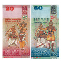 SriLankan Rs 20  Rs 50 Currency 2 Notes Paper Money Free Shipping