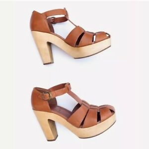 $158 Madewell 1937 The Andie High Road Sandal Sz 8 Cognac Brown Tan Wood Heel