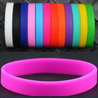 10pcs Sport Silicone Rubber Elasticity Wristband Wrist Band Cuff Bracelet Bangle