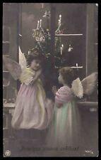 Edwardian 1910s vintage photo postcard xmas christmas tree guardian angel pray