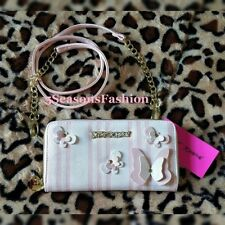 �?BETSEY JOHNSON 3D Butterfly Studded Wallet Pink Crossbody Bag Striped Clutch