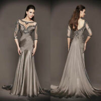 Sequins Grace 3/4 Sleeve Mermaid Mother Of The Bride Dresses Beads Evening Gowns