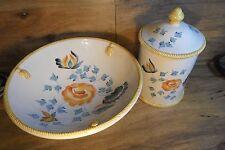 (2) piece vintage Nora Fenton Italy Ceramic Canister & Centerpiece Bowl