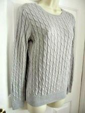 Talbots S P Sweater Rayon Poly Metallic Grey Silver Knit Scoop Neckline Long Sle