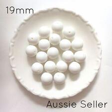 10 silicone beads SNOW WHITE 19mm round BPA free baby DIY sensory jewellery 20mm