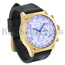 Luxury Mens Large Round Face Leather Band Business Quartz Wrist Watch with Date