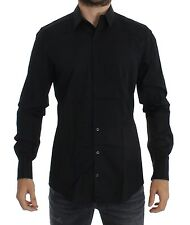 Nuevo con Etiqueta Dolce & Gabbana Azul Dorado Ajustado Camisa de Vestir Smoking