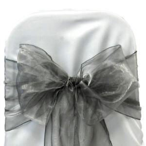 PACK OF 25 Organza Chair Cover Sash Bow Sashes Wedding Banquet decor FREE SHIP