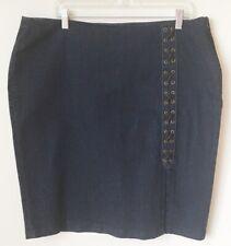 Lauren Ralph Lauren Dark Wash Denim Jean Knee Length Skirt Plus Size 18W Stretch