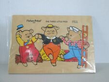Fisher Price #520 Wooden Tray Puzzle~3 Little Pigs