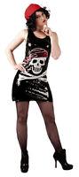 Ladies Pirate Skull & Crossbones Party Dress Sequin Halloween Costume NEW 10-12