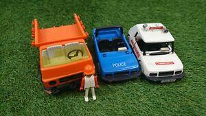 Vintage Playmobil 1976 Vehicle Bundle Police Doctor & Construction Spares