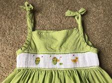 Royal Child Smocked Dress Size 6 Green White Gingham Spring Egg Chick Easter EUC