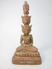 "3.5""H Thai Brass Buddha Statue PHRA SETTHI NAWAGOT 9Faces Amulet Collectible"