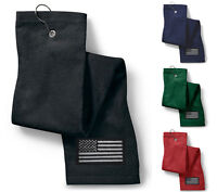 USA Blacked out Flag Military - Embroidered Golf Towel Many Colors