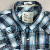 American Eagle Button Up Shirt Mens M Blue Gray Long Sleeve Vintage Fit Plaids