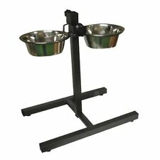 Double Stainless Steel Bowls Set Pet Dog Food Water Bowls with Adjustable Stand