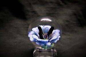 TJ art Glass light Blue flower implosion Borosilicate handmade art glass marble
