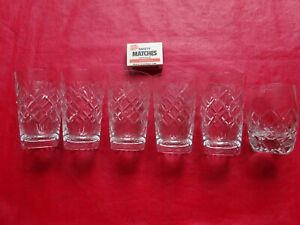 VINTAGE X 6 CRYSTAL SHERRY-WINE GLASSES--FREE POSTAGE