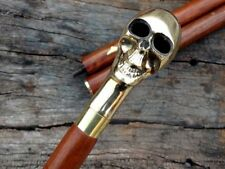 Brass Skull Head Handle Walking Stick Antique Wooden Waliking Cane Handmade