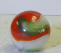 #11661m Large .71 Inches Vintage Akro Agate Red and Green Popeye Marble *Mint*