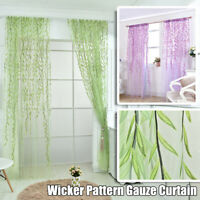 Willow Twigs Leaf Curtain Pattern Room Voile Window Sheer Drapes Tulle Curtain