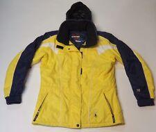 Stryke By Spyder Womens Winter Ski Coat Jacket Yellow Blue Size 8 Hidden Hood XT