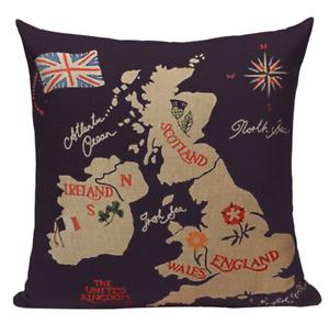 United Kingdom Map L18 Cushion Pillow Cover Wales England Ireland Atlantic Land