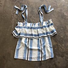 S New Anthropologie Women's Blue Stripe Sweet Shoulder Tie Blouse Top Size SMALL
