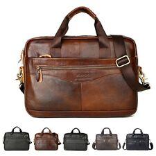 Men Genuine Oil Leather Handbag Business Briefcase Messenger Laptop Shoulder Bag