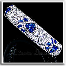 BRILLIANT PAVE' CZ_BLUE ENAMEL PAW PRINT RING_SZ-10__925 STERLING SILVER
