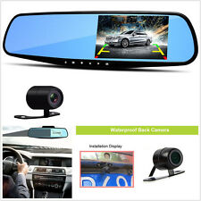 "4.3"" HD 1080P Car DVR Rear View Mirror Video Recorder Dual Cam Reversing Camera"