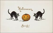 Halloween: Two Black Cats, Jack-O-Lantern - Booh! Pre-1920, Embossed Border.