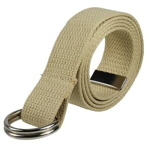 Canvas Web D Ring Belt Silver Buckle Military Style for men & women