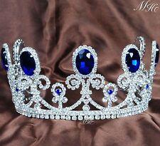 "Princess 3.5"" Tiara Headband Blue Crystal Bride Crown Wedding Pageant Party Prom"