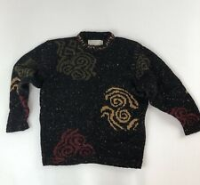 Vtg Siochain Ireland 100% Wool Black Speckled Pullover Sweater See Measurements