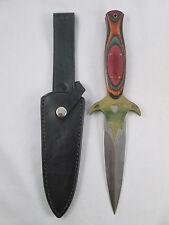 Vintage Maxam Rainbow Boot Knife Fighting Daggar & Sheath Surgical Steel Japan