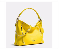 Coach 34994 Yellow & Chalk Pebbled Leather Colorblock Scout Hobo Crossbody Bag