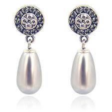 Ohrstecker perle mit kristallen Von Swarovski Silber grau nobel schmuck