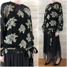 Vintage 80s metallic Gold Black Chiffon Drop Waist Party Dress S M Floral