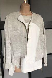 Ischiko Linen Set Top Cardigan Cream White Uk 16 14 Asymmetric Summer Eu 42