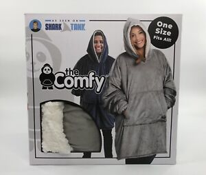 The Comfy Unisex One Size Wearable Blanket Hooded Sweatshirt Gray COMFYGRY