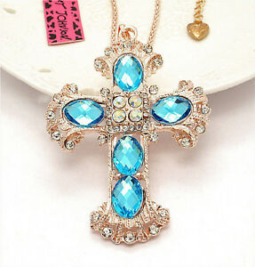 Betsey Johnson Easter Crystal Cross Rose Gold Pendant Necklace Free Gift Bag