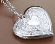 Stunning 925 Sterling Silver plated Heart LOCKET Photo Charm Pendant Necklace