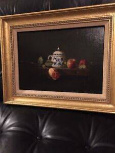 Listed NY Artist RICHARD PIONK ORIGINAL OIL ON BOARD STILL LIFE REALISM PAINTING