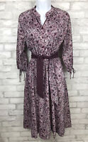 Vintage Romantic Peasant Dress Purple Floral With Reversible Matching Belt Sz 12