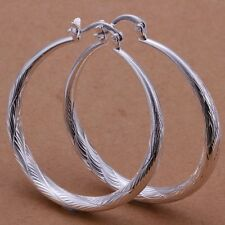 """Pretty New Sterling Silver Plated Beautifully Etched Round 1.5"""" Hoop Earrings"""